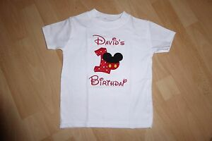 Image Is Loading Personalised Embroidered Mickey First 1st Birthday Boy Girl