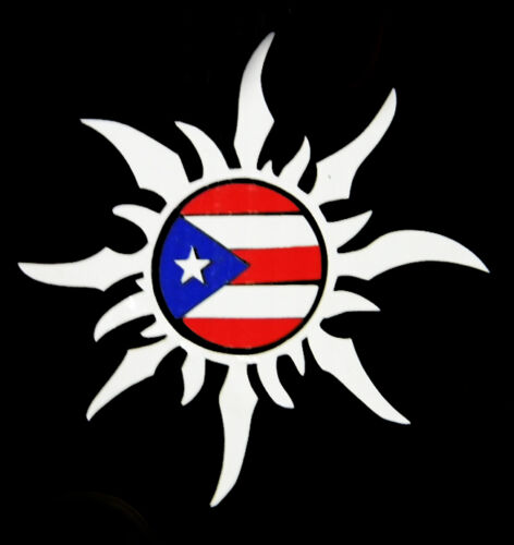 PUERTO RICO CAR DECAL STICKER SUN with PUERTO RICAN FLAG #48