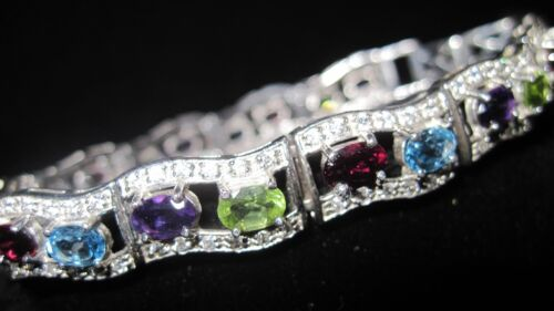 BEAUTIFUL NATURAL 6X4mm AMETHYST,GARNET,PERIDOT,TOPAZ,CZ 925 SILVER BRACELET 7in