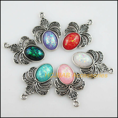 12Pc Tibetan Silver Jade AB Shivering Flower Mixed Resin Charms Pendants 22x32mm
