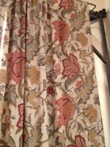 Pottery-Barn-Set-2-Cynthia-Floral-Drape-Ivory-96L-Curtain-Pole-Pocket-Pair-New