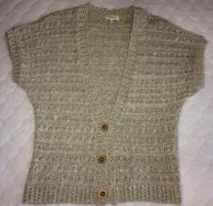 PAPAYA-Beige-Cardigan-Short-Sleeve-Knit-Size-16-PLUS-SIZE