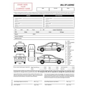 Image Is Loading 100 Sets 3 Part Vehicle Auto Transport Bill