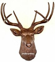 Faux Bronze Deer Head 8 Point Buck Wall Mount Decor
