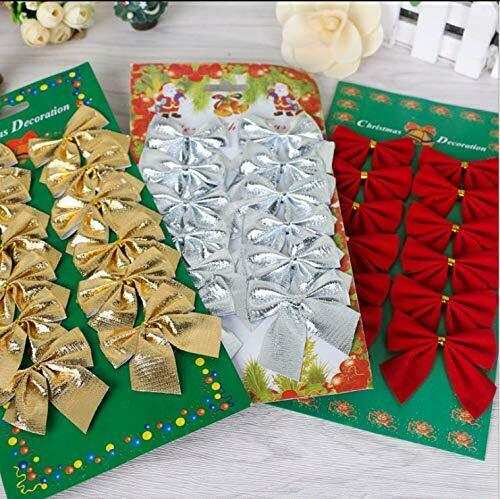 SHISI 36pcs Mini 5cm Ribbon Bows Christmas Tree Charms Hanging Decoration Party