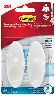 3M Command Pack of 2 Medium Bathroom Hooks with Water ...