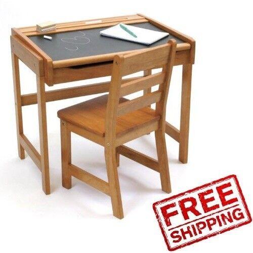 kids desk set chair wood table chalkboard home study storage