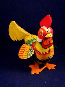 Ancien-jouet-automate-mecanique-poule-tole-lithographiee-Japan-an-1960