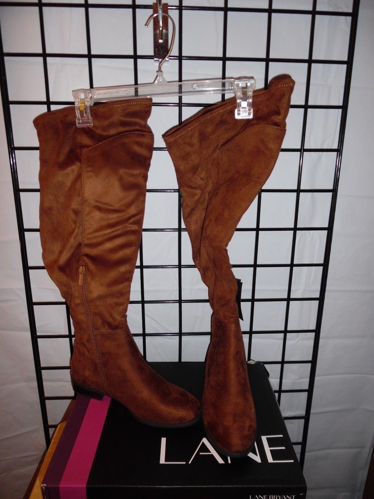 lane bryant women long brown boots size 7W