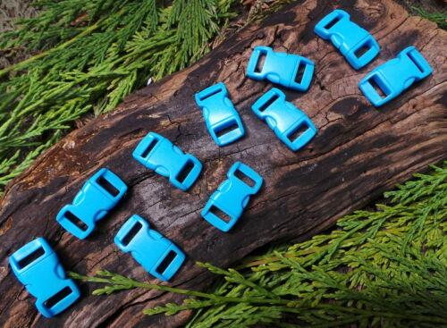 10 x 10MM 3//8 ACID BLUE CURVED QUICK RELEASE PARACORD SURVIVAL BRACELET BUCKLES