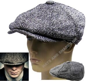 Peaky-Blinders-Gatsby-Newsboy-Hat-Grey-Tweed-Flat-8-Panel-Baker-Boy-Bakerboy-Men