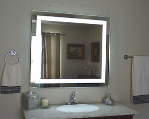 Mam84432 44 w x 32 t lighted vanity mirrorledwall mounted makeup image is loading mam84432 44 034 w x 32 034 t lighted mozeypictures Choice Image