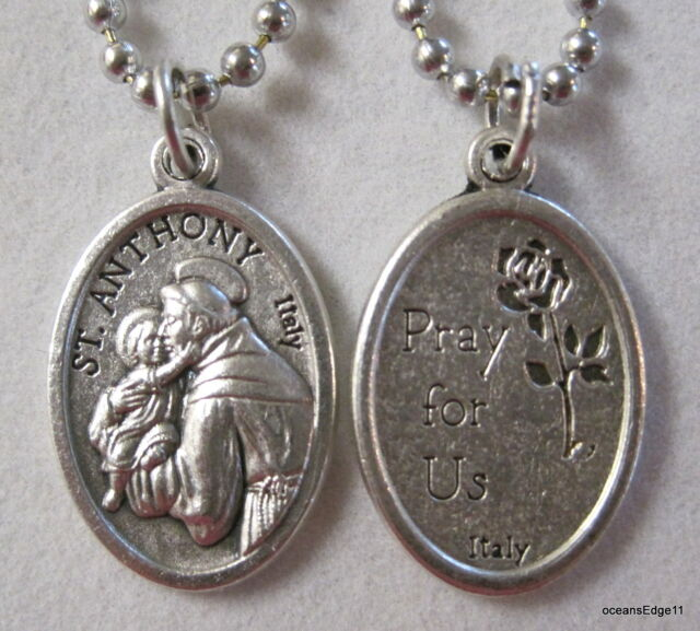 St Anthony Patron of Lost Items Medal Necklace,Chain,Silver Plated