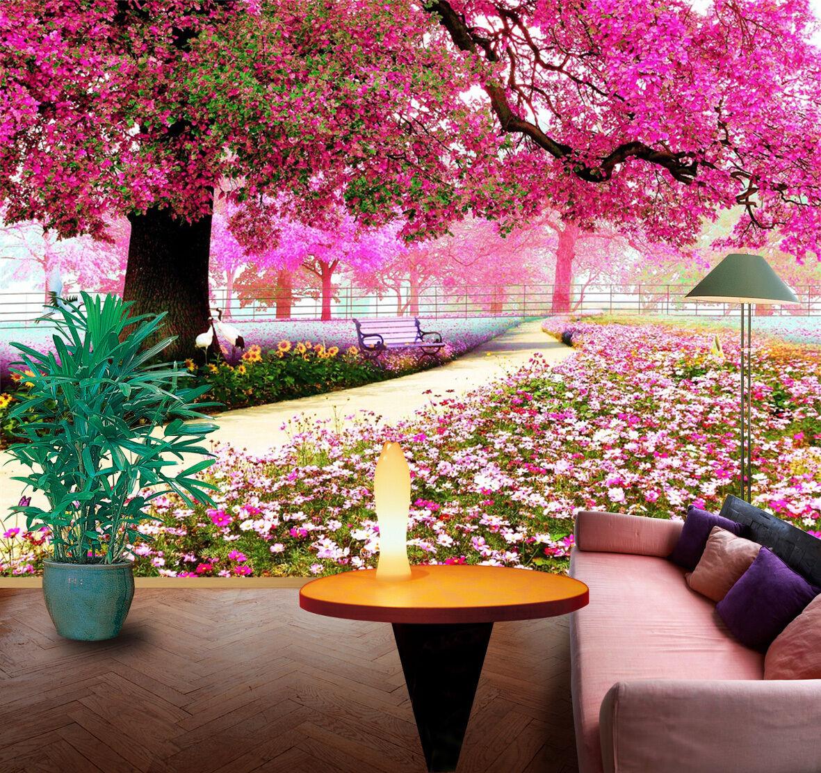 3D Pretty Flowering Tree 132 Wallpaper Decal Dercor Home Kids Nursery Mural Home