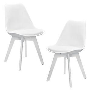 en.casa] Set 2x sillas de comedor de diseño blancas plástico piel ...