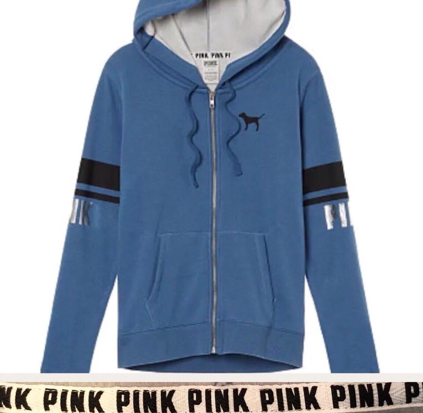 Victoria's Secret Hoodie Perfect Full Zip Cozy Fleece Lined bluee PINK Sz XS RARE