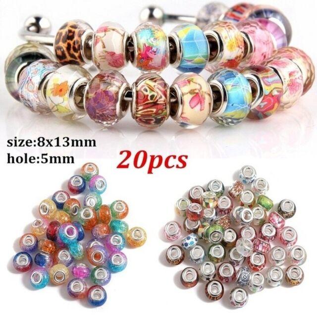 New 5pc Lampwork Glass Spacer Murano Big Hole Bead Fit European Bracelet 14x10mm