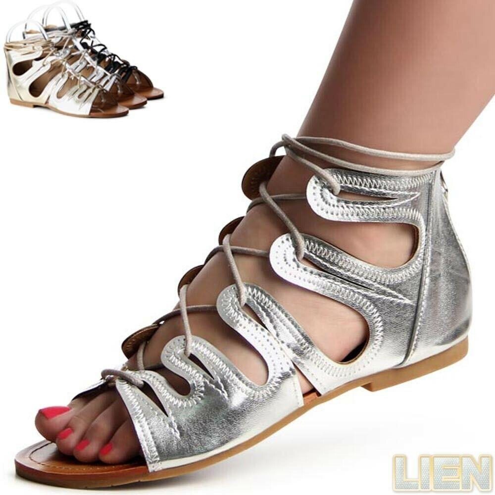 Acheter Pas Cher Chaussures Femme à Lacets Sandales Lanière Sandalettes Gladiateur Romains Facile Et Simple à Manipuler