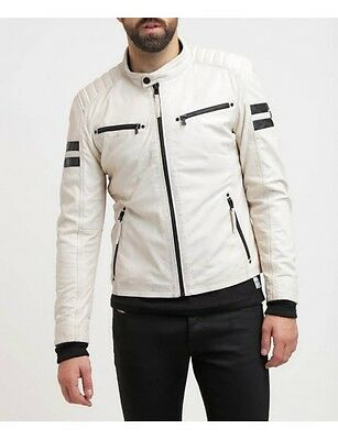 White Jacket Leather Men s Biker St Motorcycle Vintage Slim Fit Lambskin White.