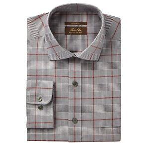 124-Tasso-Elba-Men-Regular-Fit-Black-Gray-Long-Sleeve-Dress-Shirt-Size-15-34-35
