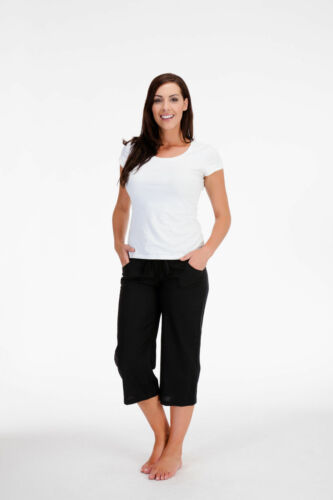 LADIES CASUAL 3//4 LINEN TROUSERS SUMMER WEAR HOLIDAYS SIZE 10-18