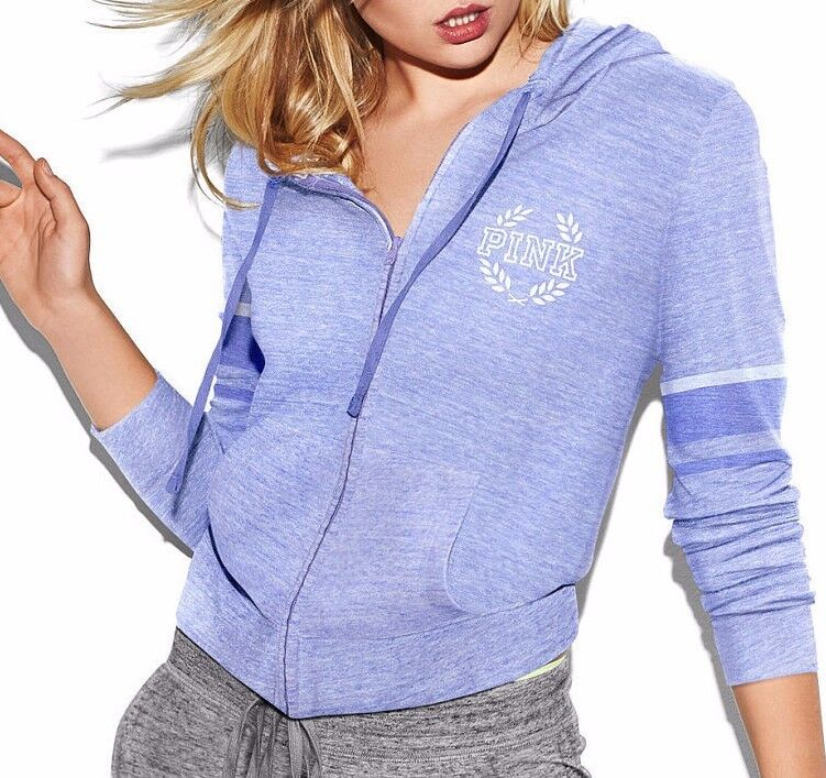 Victoria's Secret Pink NWOT Lightweight Jersey Full Zip PURPLE Nirvana LARGE