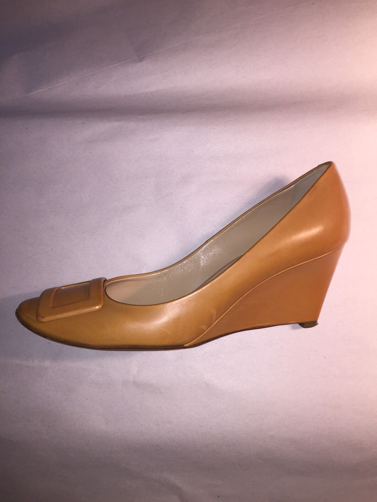pre-loved authentic ROGER VIVIER size 40 1/ 2 tan leather WEDGE HEEL w/buckles