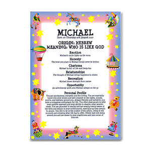 NAME MEANING PRINT Personalised Gift Newborn Baby Christening Nursery Circus