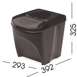 Amical Noir 20 L Grand Empilable Recyclage Tri Code Couleur Plastique Poubelle W Couvercle-afficher Le Titre D'origine Utilisation Durable