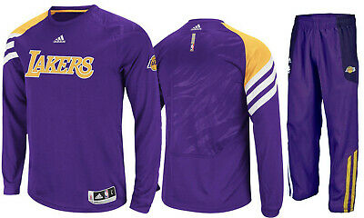 New Adidas Los Angeles LA Lakers On Court Basketball Warm Up Suit Pant Shirt Set | eBay