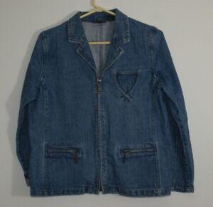 Women-039-s-Relativity-Blue-Denim-Jean-Jacket-Petite-SZ-L-Zip-Front-Stylish-Comfort