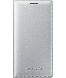classic fit ecffa 0b9a5 Details about 100% Official Genuine SAMSUNG GALAXY A3 FLIP COVER Silver  (2015)