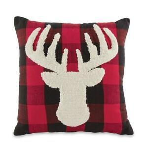 Details about Mud Pie Buffalo Check Raised Needlework Stag Deer 16