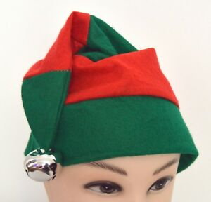 Adult Red and Green Striped Elf Hat With Silver Bell Christmas Xmas Fancy Dress