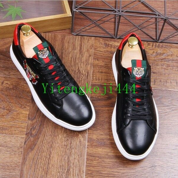 Trendy Mens Applique Embroidery Leather Casual Sports Sneakers Running shoes