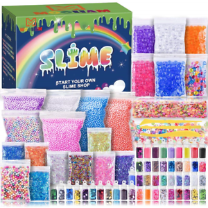 Slime Supplies Kit Fruit Slime Stuff Charm Include Foam Balls Fishbowl Beads