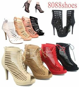 Women-039-s-Sexy-Fashion-Lace-Up-Zipper-Strappy-Caged-Open-Toe-High-Heel-Sandal-5-10