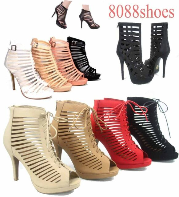 Women's Sexy Fashion Lace Up Zipper Strappy Caged Open Toe High Heel Sandal 5 10