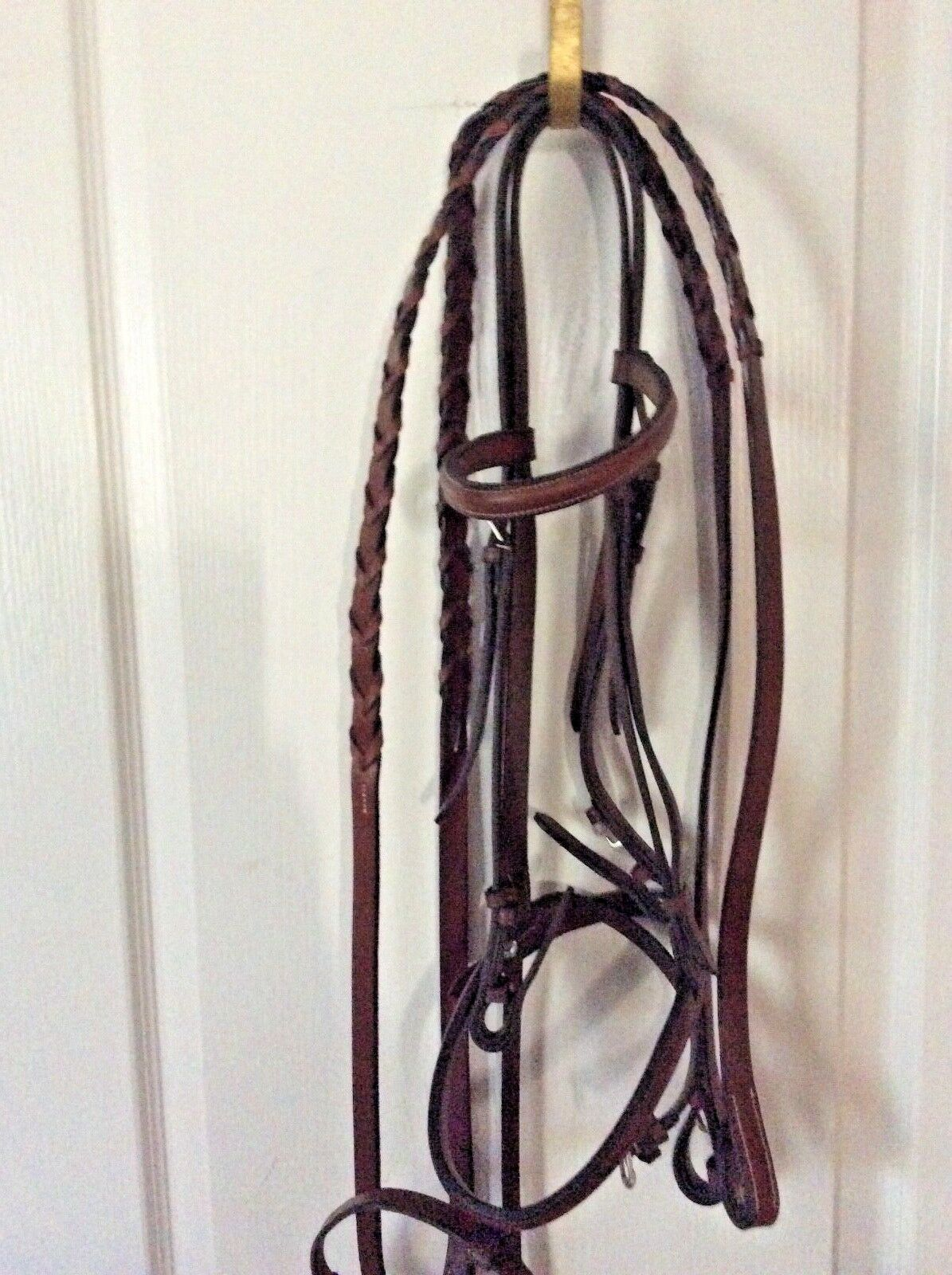 NWOT ENGLISH HAVANA LEATHER BRIDLE DROPPED NOSE BAND W LACED REINS-ENGLAND-HORSE