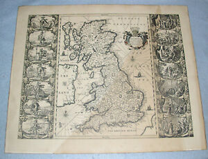 Antique-Jansson-Map-Britannia-British-Isles-UK-Britain-Ireland-ca-1646-Restrike