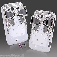 COOL LUXURY 3D BLING WHITE BLACK DIAMANTE PROTECTIVE CASE COVER 4 HTC WILDFIRE S