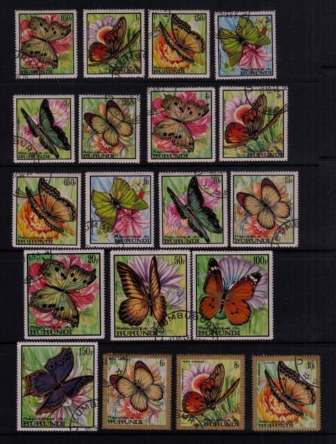 BURUNDI #240-255, C66-C74 Used 1968 COLORFUL BUTTERFLIES Complete Set of 25