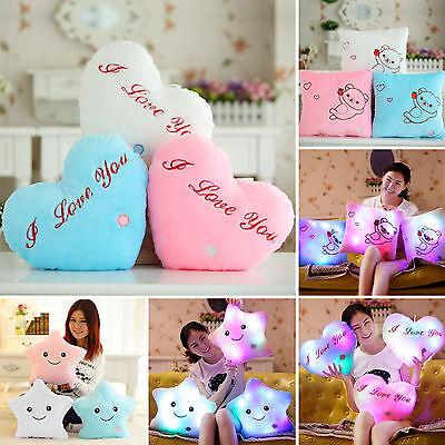 Romantic LED Light Up Glow Pillow Soft Cosy Cushion Relax Stars Heart Plush Gift