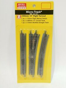 NEW-Micro-Trains-Z-Scale-R490mm-13-Right-Turnout-990-40-911-TOT1ES