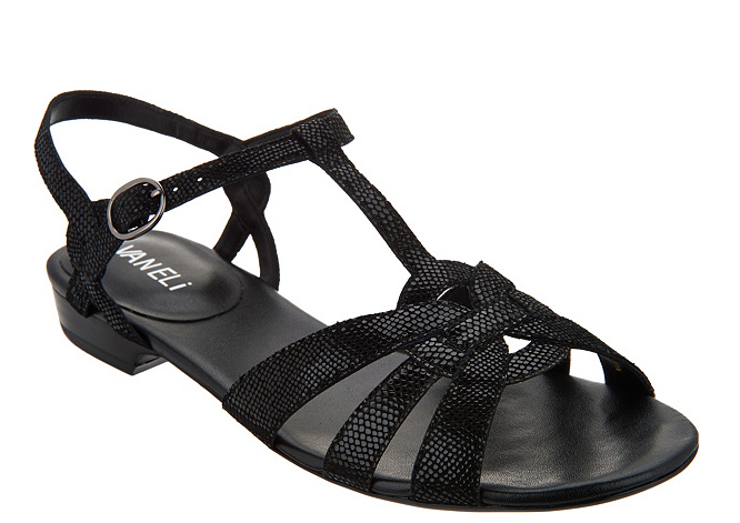 Vaneli Leather Multi-Strap Sandals - Brandy - Black Women's Size 9W shoes New