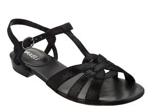 H by Hudson Women's Pansy Multi Flat Sandal, Sandal, Flat Black, 38 EU/7 M US 1060d6