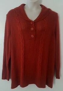 Dressbarn Orange Cable Knit Long Sleeve Cowl Neck Sweater Plus Size