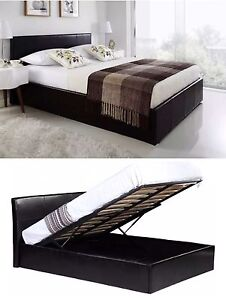 Details About 5ft King Size Bed Frame Faux Leather Ottoman Storage Gas Lift Up In Black