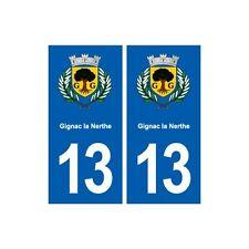 13 Gignac-la-Nerthe blason ville autocollant plaque sticker droits