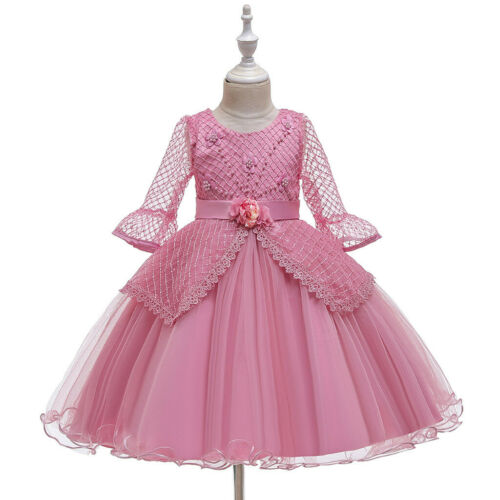Toddler Kid Girl Lace LongSleeve Princess Gown Party Tulle Dress Cosplay Clothes